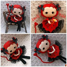 Felt Halloween Collectable Lady - Gorgeous Devil Girl - Made to Order by HarveyshouseCrafts on Etsy https://www.etsy.com/listing/164534463/felt-halloween-collectable-lady-gorgeous