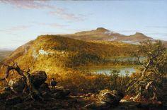 """""""Un point de vue des Deux Lacs et Mountain House, Catskill Mountains"""", huile de Thomas Cole (1801-1848, United Kingdom)"""