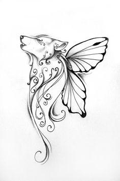 gezeichnete-Tattoo-Vorlage-Tiere-Ideen-Männer-Arm-Wolf-Blumen-Schmetterlinge-