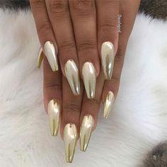 Gold & Silver Chrome Nails Art