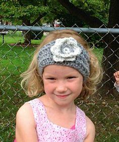 Crochet gray headband, girls hairband, ear warmer, headband with flower by OnceUponARoll for $11.00#zibbetflash