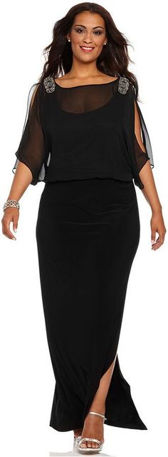 Plus Size Black Evening Gowns | Xscape Plus Size Dress, Short Split Sleeve Beaded Evening Gown Sold ...