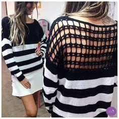 Listras, preto e branco e um detalhe maravilhoso nas costas! Demais esse tricot! #Vemprazas