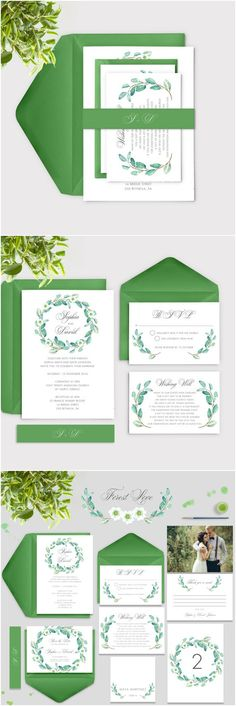 Spring Weddings » 2017 Spring Wedding Color and Ideas » Spring Watercolour Leaves wedding invitations