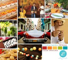 Cuban inspiration - Cuban Dessert photo by Michelle Reed; Band photo via Altrendo Images; Table Setting by Celebrations at Home; Mojitos from A Nu Healthy You; Photo of Bride by Martin Pauca;  Cigar Roller photo by Candidly Elegant; Domino Favors from The Knot; Empanadas via The Food Network; Lanterns by Apartment Therapy