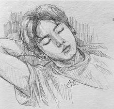 [SOLD] Quick sketch of sleepy head 💜 Jungkook Fanart, Kpop Fanart, Kpop Drawings, Art Drawings Sketches, Quick Sketch, Jung Kook, Traditional Art, Anime Angel, Oeuvre D'art