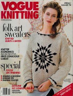 VOGUE KNITTING Spring Summer 1994 Folk Quilt Batik Sweaters Missoni Patterns #VogueKnitting #KnittingPatterns