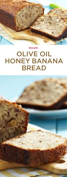 This Olive Oil Honey Banana Bread gives you the perfect opportunity to make use of overripe fruit. Our recipe abandons butter and refined sweeteners. Breakfast Recipes, Dessert Recipes, Cake Recipes, Breakfast Dishes, Fruit Recipes, Dessert Bars, Appetizer Recipes, Clean Eating Recipes For Dinner, Dinner Recipes
