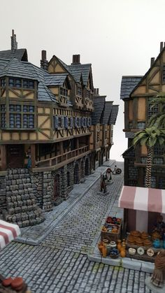 Chris Da Silva Providence - Medieval City Port Miniature - by Chris Da Silva Fantasy City, Fantasy Castle, Fantasy House, Fantasy World, Medieval City, Medieval Houses, Medieval Fantasy, Minecraft Castle, Minecraft Medieval