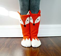 Change colour/pattern so it's not another bloody fox! Like the ears though. Ravelry: Little Foxy Socks pattern by North Star Knits