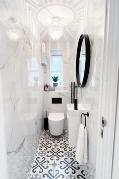 Small Toilet Decor, Small Downstairs Toilet, Toilet Room Decor, Small Toilet Design, Small Toilet Room, Modern Toilet Design, Small Shower Room, Downstairs Cloakroom, Washroom Design