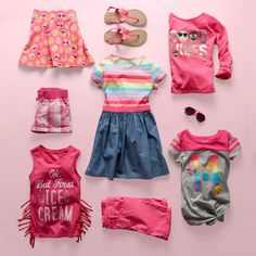 Girls' fashion | Kids' clothes | Rainbow stripe dress | Graphic top | Fringe tank top | Skimmer shorts | Plaid shorts | Emoji print skort | Embellished top | Butterfly sandals | The Children's Place