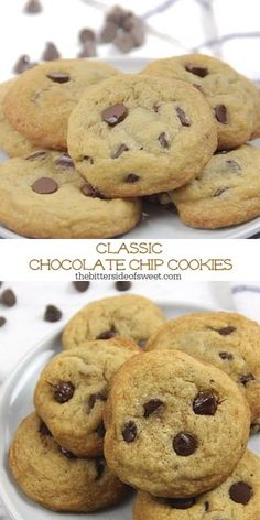 With simple ingredients these Classic Chocolate Chip Cookies bake up soft and chewy! Ready in just about 10 minutes they will disappear fast! Chocolate Chip Cookies Rezept, Cookies Receta, Chocolate Chip Recipes, Yummy Cookies, Pumpkin Chocolate Chips, Simple Chocolate Chip Cookies, Cool Cookies, How To Make Cookies, Kid Desserts