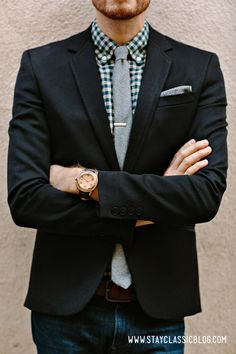 Patterned shirt with blazer and tie