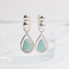 Turquoise Earrings Artisan Metalsmith Rain Drops by MosaicSmith