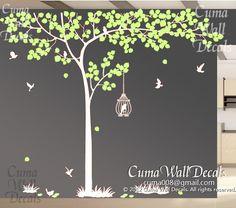 Nursery wall decal tree birdcage vinyl wall decals birds wall sticker wedding wall decal office- Huge tree Z155 Cuma. $95.00, via Etsy.