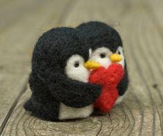 Aguja de fieltro pingüinos pájaros del amor por scratchcraft