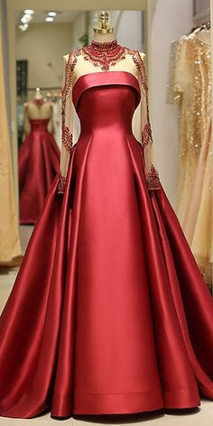 A-line Evening Dress With Beading Brilliant Satin High Collar Floor-length Prom Dresses - Evening Dresses A Line Evening Dress, Evening Dresses, Prom Gowns, Ball Gowns, Bridesmaid Dresses, Elegant Dresses, Pretty Dresses, Formal Dresses, Prom Dresses Long With Sleeves
