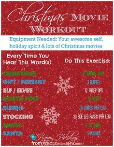 Have you been choosing Buddy The Elf over your workout? Try out this at-home workout you can do while watching your favorite Christmas holiday movies. No equipment needed. Tv Show Workouts, Fun Workouts, At Home Workouts, Monthly Workouts, Exercise Moves, Weight Workouts, Volleyball Workouts, Fitness Workouts, Workout List