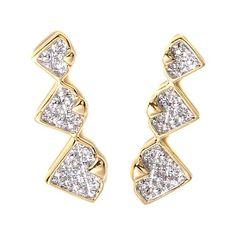 Diamonds Unleashed Diamond-Accented Ear Climbers