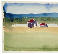 Georgia O'Keeffe - Untitled (Houses and Landscape), 1916