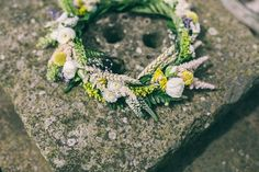 Yellow White Flower Crown Wheat Bohemian Home Made Farm Wedding http://www.jessyarwood.co.uk/