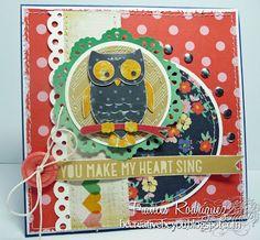 Frances Rodriguez: Be Creative, Be You for CottageBLOG: CottageCutz-Stylized Owl Card - 3/9/13  (Cottage Cutz: Stylized Owl, Tea Time Doily).  (Pin#1: Owls...Pin+: Dies: CottageCutz).