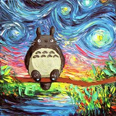 My Neighbor Totoro Art Starry Night Giclee print van Gogh Never Met... ($18) ❤ liked on Polyvore featuring home, home decor, wall art, photo wall art, van gogh paintings, ink painting, photo painting and photography wall art