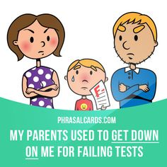 """""""Get down on"""" means """"to criticise someone"""". Example: My parents used to get down on me for failing tests."""