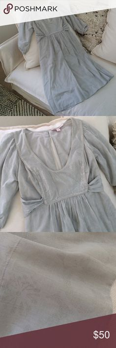 Rebecca Taylor Dress Worn Once!!! Such A Pretty & Unique RT Dress. Dress & Lining 100% Cotton. Side Zip. Ties At Back. Extremely Pale Blue/Gray w/Silver Threading & Lace Detail. Subtle Floral Print. Rebecca Taylor Dresses