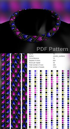 Bead crochet pattern. Beading pattern and tutorial Crochet Necklace Pattern, Beaded Necklace Patterns, Bead Crochet Patterns, Seed Bead Patterns, Beading Patterns, Beading Tutorials, Seed Bead Tutorials, Bead Crochet Rope, Crochet Beaded Bracelets