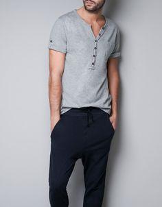 BUTTON NECK T-SHIRT - Homewear - Man - ZARA Canada