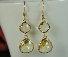 Jonquil yellow gold earrings  drop glass earrings von RainRainRain, $24.00