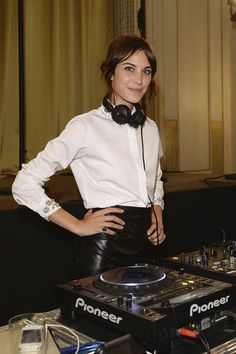 Style Set: Alexa Chung spun tunes in a leather skirt as stylish partygoers listened in.