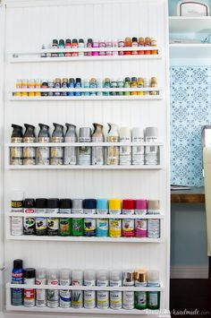 DIY Paint Storage Shelves - Office & Craft Room Makeover {Week Create the perfect DIY paint storage from scraps or cheap wood. The paint storage shelves can even be hung in closets or behind doors to free up even more space. Spray Paint Storage, Craft Paint Storage, Paint Organization, Diy Storage, Storage Shelves, Storage Spaces, Organizing Ideas, Storage Ideas, Craft Room Shelves