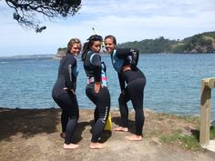 3 sexy women in black and sky blue wetsuits. Scuba Wetsuit, Scuba Girl, Womens Wetsuit, Swimsuits, Swimwear, Snorkeling, Sexy Women, How To Wear, Black