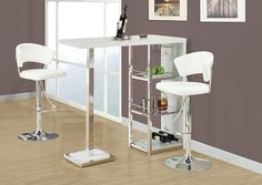 Monarch 2301 - White/ Chrome Metal Hydraulic Lift Barstool | Sale Price: $115.00