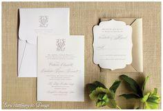 Ritz-Carlton, Reynolds Plantation Monogram Die Cut Invitation by ECRU Stationery & Design, as seen in Modern Luxury, The Atlantan Brides