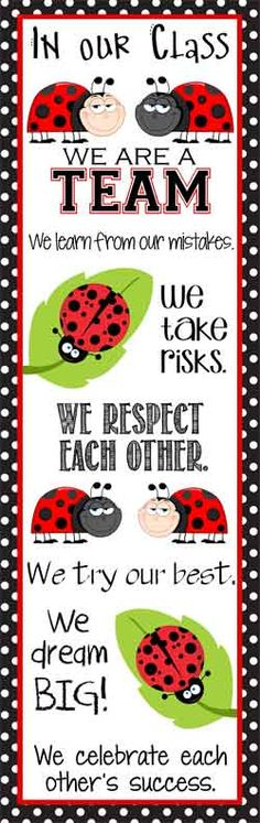 LADY BUG Theme Classroom Decor/ Character Education Banner / X-Large / In Our Class/ Vistaprint.com / JPEG / ARTrageous FUN