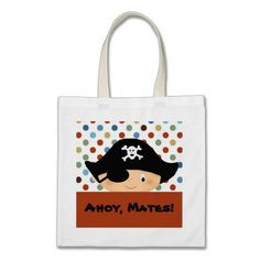 Pirate boy, Ahoy, Mates! Party Tote bags