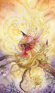 Death - Shadowscapes Tarot by Stephanie Pui. (I like the symbolism of the phoenix's burning for this card - it perfectly captures the frightening power of Change. ~RB)
