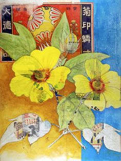 Hibiscus by mewseum, Asian Mixed Media Art, Asian Art, Flower Collage, Flower Art, Collages, Collage Artists, Art Journal Inspiration, Art Inspo, Art Easel