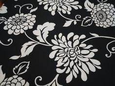 Black/White floral decorator fabric