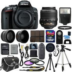 Nikon D5300 Digital SLR Camera + 3 Lens Kit 18-55mm VR Lens +32GB Bundle #ad