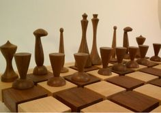 Handmade Chess Set and Board by woodturner Nick Rosato Lathe Projects, Wood Turning Projects, Wood Projects, Woodworking Projects, Projects To Try, Woodworking Jigs, Modern Chess Set, Chess Set Unique, Chess Pieces