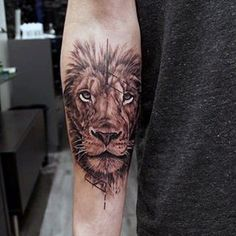 Inner Forearm Lion Tattoos For Males