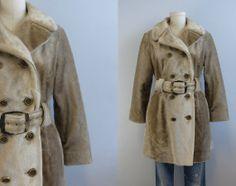Vintage Faux Fur Coat / 1960s Ombre Tan Vegan Fur by zestvintage, $128.00