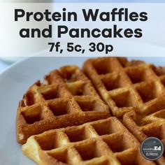 High Protein Waffles and Pancakes - Fluffy and Low-Carb! - A simple keto recipe for high protein and low carb pancakes and waffles. A simple keto recipe for h - High Protein Breakfast, High Protein Snacks, High Protein Low Carb, High Protein Recipes, Keto Recipes, Protein Power, Cleanse Recipes, Healthy Recipes, High Protein Waffle Recipe