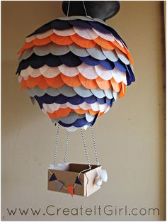 Hot Air Balloon Paper Lantern 10 inch for parties by CreateItGirl, $25.00