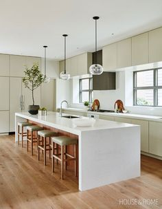 Gallery: 80 Modern & Contemporary Kitchens Olive accents and wood detailing breathe life into this contemporary kitchen. Home Decor Kitchen, Kitchen Design, Kitchen Ideas, Kitchen Inspiration, Kitchen Furniture, Minimal Kitchen, Upper Cabinets, House And Home Magazine, Trends